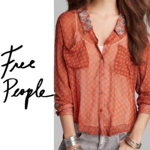 Free People Easy Rider Red Blouse